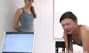 Hot girls spanked by spanking machine