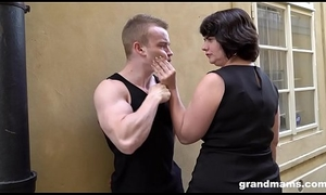 Fat of age wife pays youthful boy 50 Euros for a blowjob