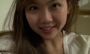 Unambiguous busty asian teen at one's dispatching domicile here toys